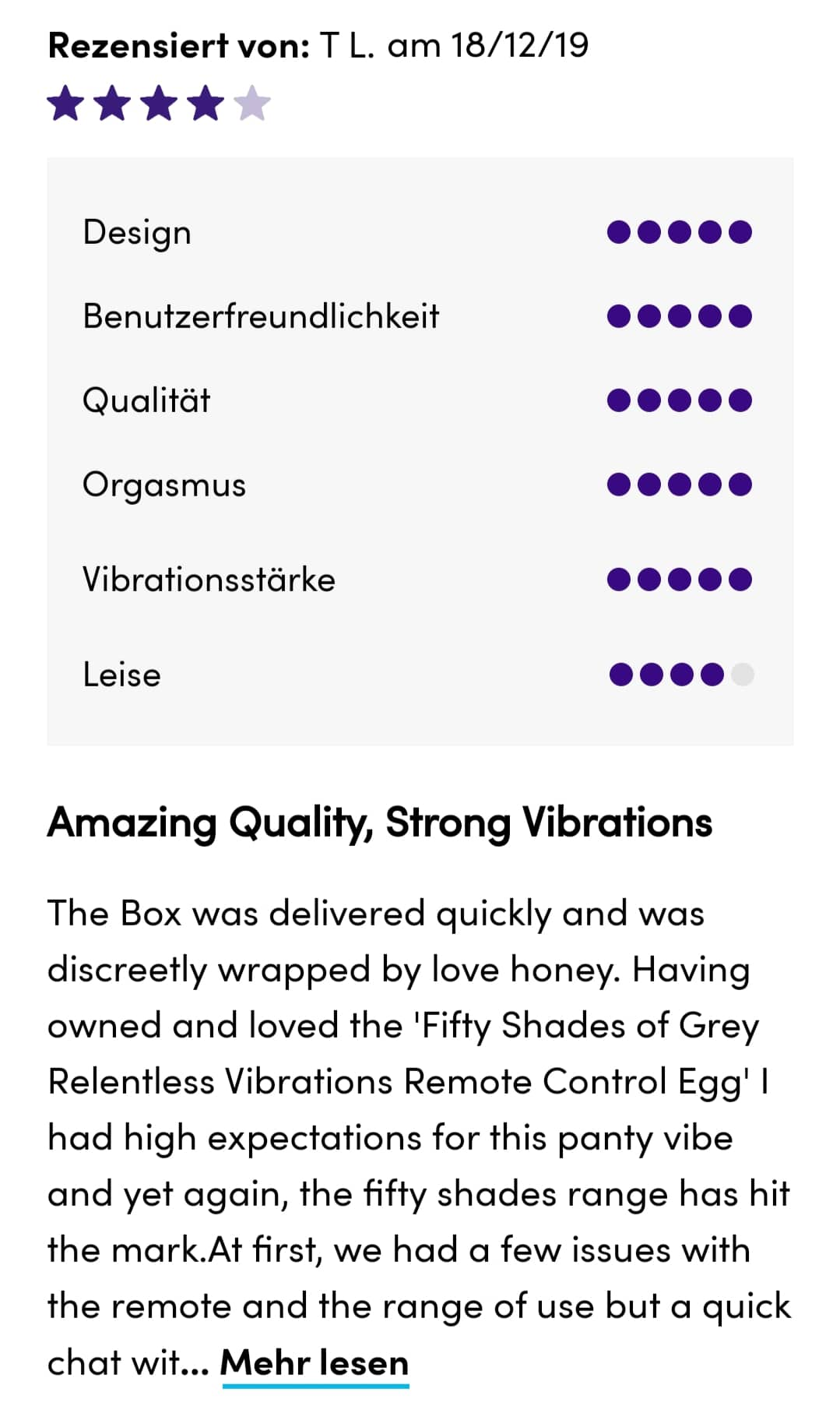Fifty Shades of Grey Relentless Vibrations 4 Sterne